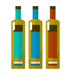 Wine bottle flat icons set vector image
