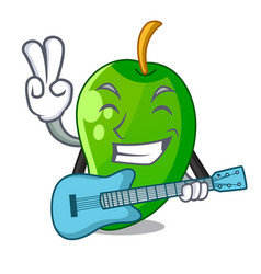 With guitar green mango in the cartoon shape vector
