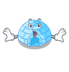 With trumpet igloo ice house isolated on mascot vector