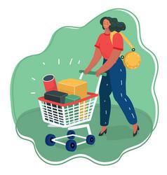 woman pushing shopping cart full boxes vector image