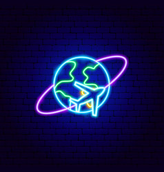 world flight neon sign vector image