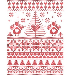 Xmas nordic tall pattern with angels vector