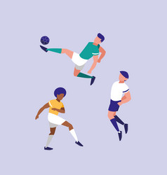 young men practicing football isolated icon vector image