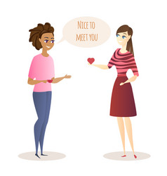 Young women meeting and friendly conversation vector
