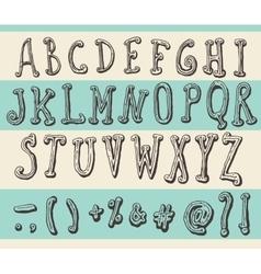 Alphabet Original Doodle Engraved Hand Drawn vector image vector image