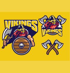 viking mascot set with axes amd shield vector image vector image