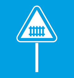 warning road sign icon white vector image vector image