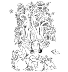 Zen tangle girl with freckles vector