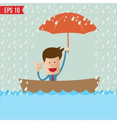 Business cartoon holding umbrella on boat for vector image vector image