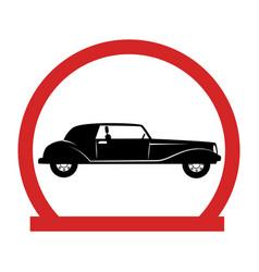 circular emblem with classic car vector image