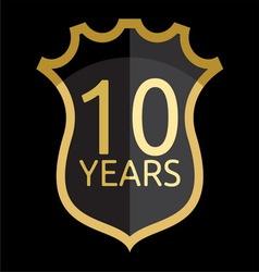 Golden shield years vector image vector image
