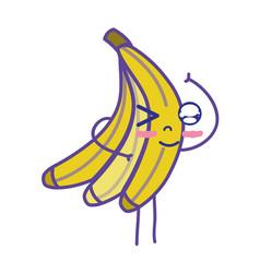 kawaii cute funny banana fruit vector image