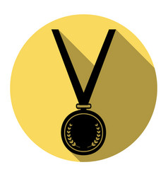medal simple sign flat black icon with vector image