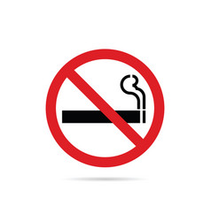 stop smoking red sign on white background vector image vector image