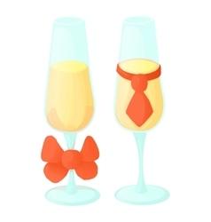 Wedding glasses icon cartoon style vector image