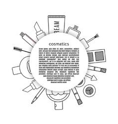 Banner circle make up and cosmetics set vector image vector image
