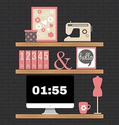 Modern home office workspace vector