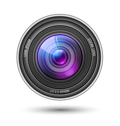 realistic camera lens with reflections vector image