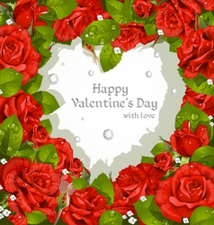 Valentines Day card with red roses and diamonds vector image vector image