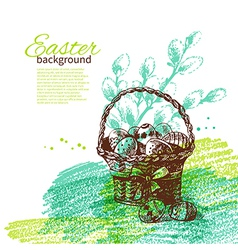 Vintage Easter background with hand drawn sketch vector image vector image