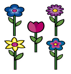 flowers colored 1 vector image vector image