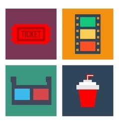 Movie Cinema Icons Flat style vector image
