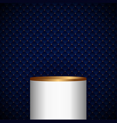 3d realistic white and gold pedestal cylinder vector image