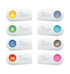 8 data infographics tab paper thin line index vector