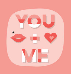 abstract close up you me message with lips vector image