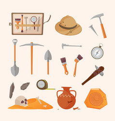 Archaeological tools and finds set brushes vector
