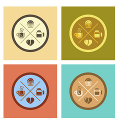 Assembly flat icons coffee bean logo vector