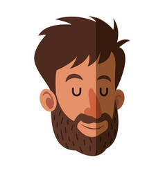 Avatar face man beard close eyes shadow vector