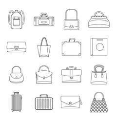 bag baggage suitcase icons set outline style vector image