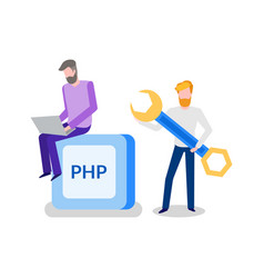 Banner php two working men with wrench vector