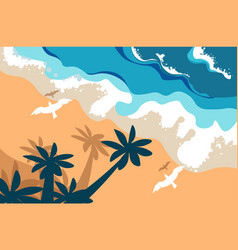 beach summer landscape tropical island palms and vector image