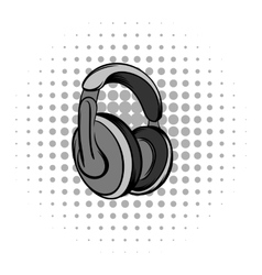 Big headphones grey comics icon vector image