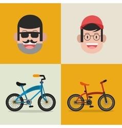 bike and cyclist icons image vector image