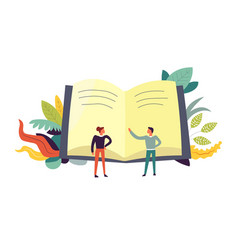 Book and people discussing topics leaves decor vector