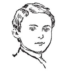 boy face vintage engraving vector image