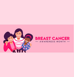 breast cancer awareness banner of friend group hug vector image