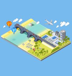 bridge and beach vector image