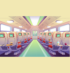 Bus train or airplane chairs with folding tables vector