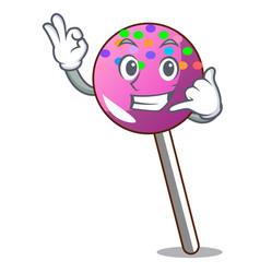 Call me lollipop with sprinkles mascot cartoon vector