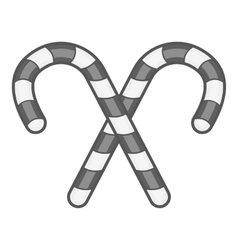 Candy canes icon black monochrome style vector image
