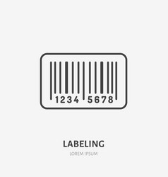 cargo labeling flat line icon barcode tag sign vector image