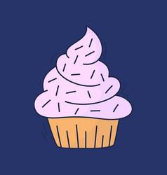 cartoon cakes in hand drawn dessert in vintage vector image