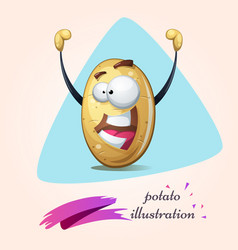 Cartoon potato winner funny cute vector