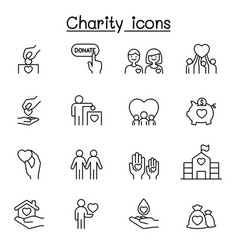 charity donation icons set in thin line style vector image