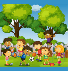 Children playing games and sports in park vector