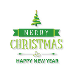 christmas card with tree and typography vector image